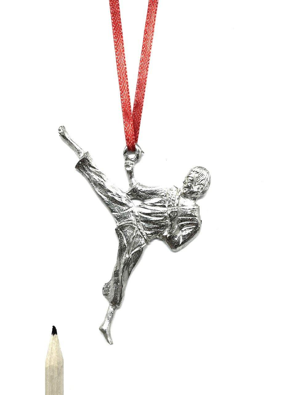 1069 Karate Martial Arts Team Coach Keepsake Christmas Holiday Ornament Pewter - House of Morgan Pewter