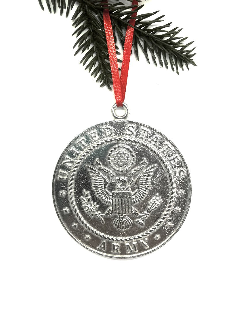 1084 Army Military Keepsake Christmas Holiday Ornament Pewter - House of Morgan Pewter