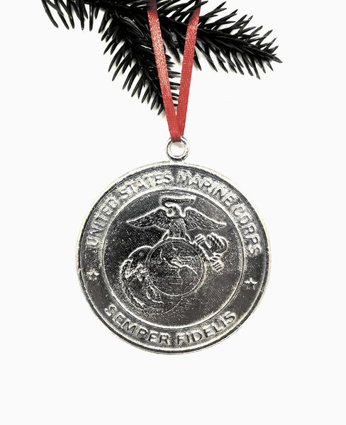 1087 Marine Military Keepsake Christmas Holiday Ornament Pewter - House of Morgan Pewter