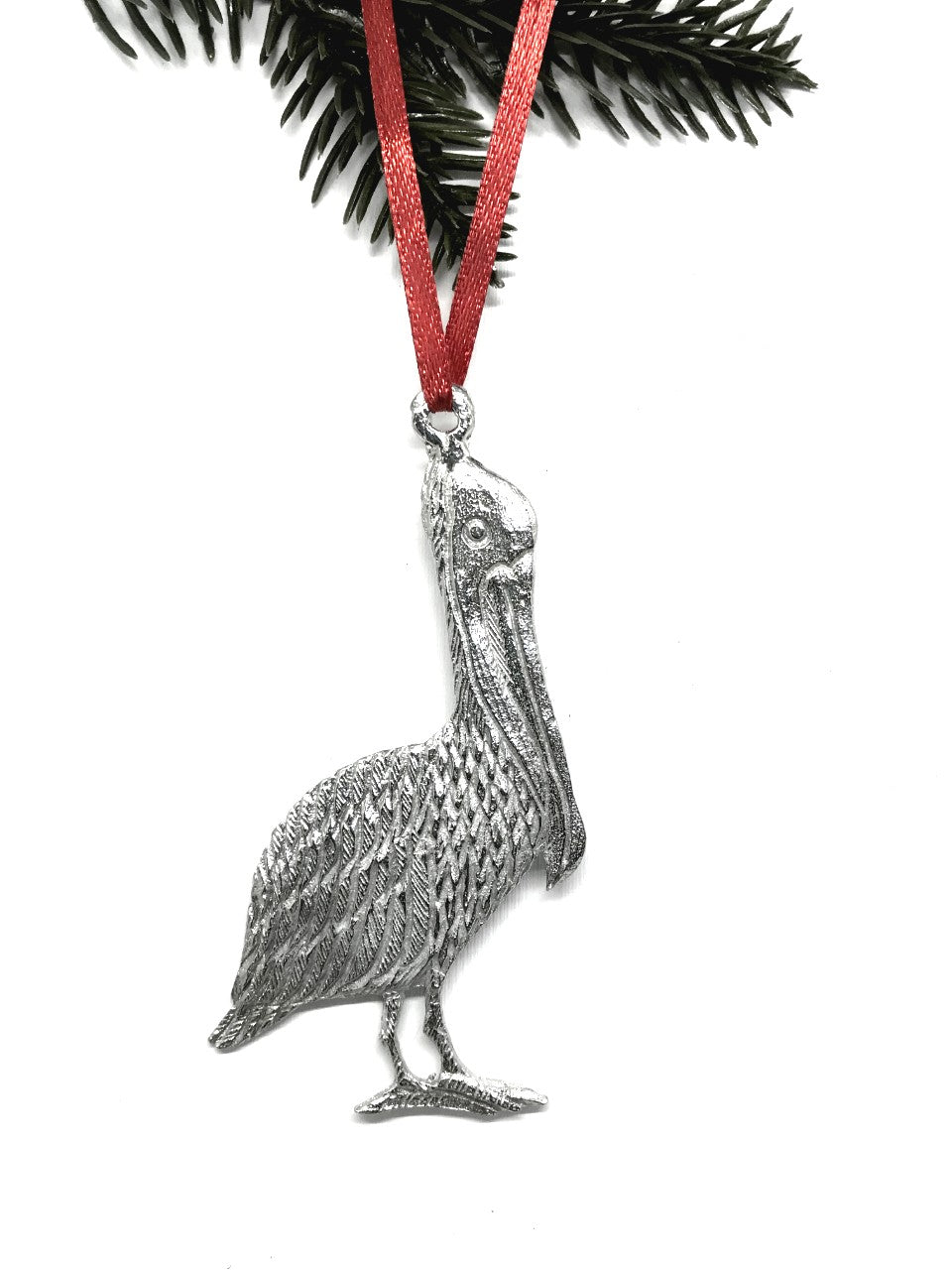 USA Handcrafted Louisiana LO Alligator Pelican Keepsake Christmas Holiday Ornament Pewter Gift Set