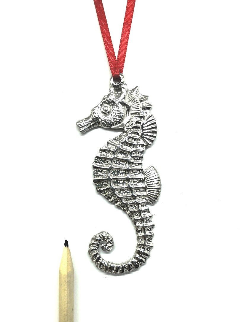 1099 Seahorse Beach Ocean Island Keepsake Holiday Christmas Ornament Pewter - House of Morgan Pewter