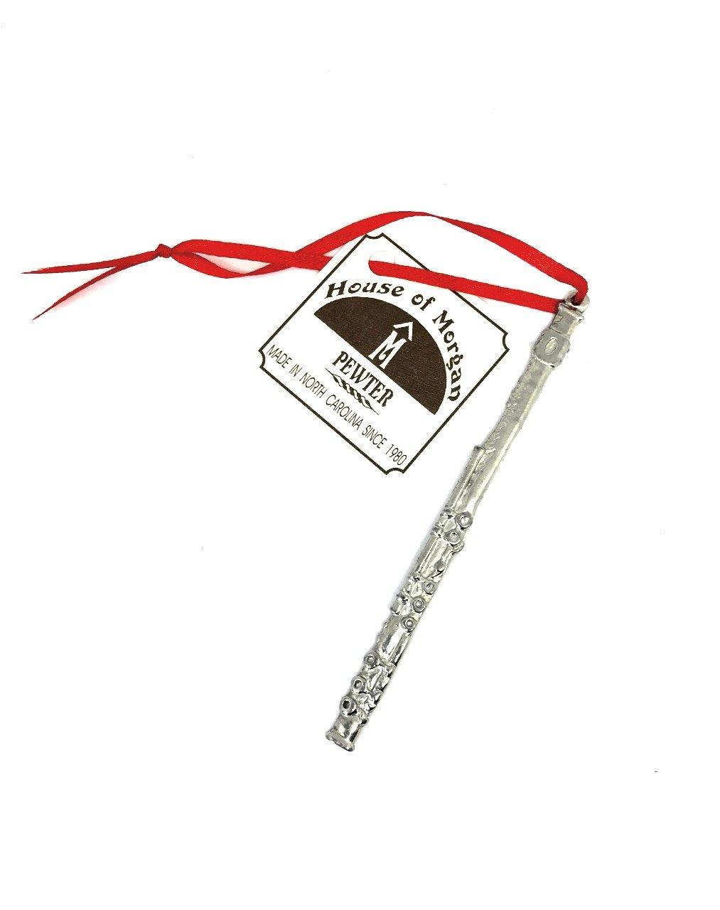 526 Flute Musical Teacher Student Instrument Keepsake Holiday Ornament Pewter - House of Morgan Pewter