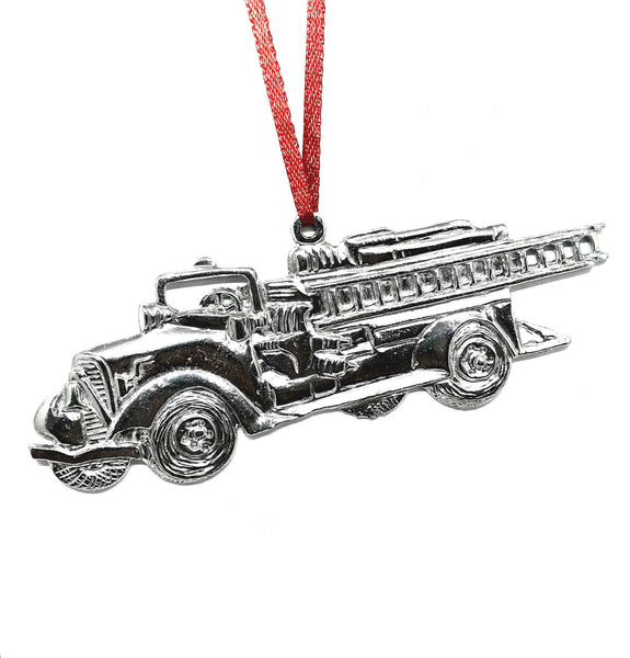 529 Fire Truck Engine Station Firefighter Chef Captain Christmas Ornament Pewter - House of Morgan Pewter