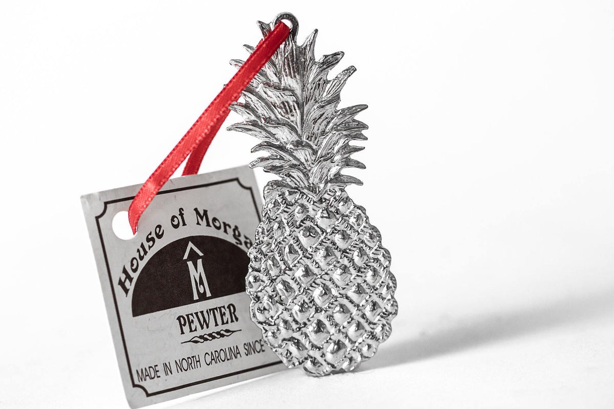 Handmade Pineapple Southern Hospitality Christmas Ornament Pewter