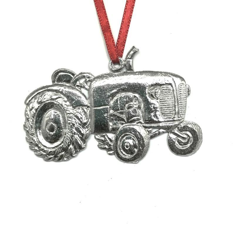 572 Farmer Tractor Gardener Keepsake Christmas Ornament Pewter - House of Morgan Pewter