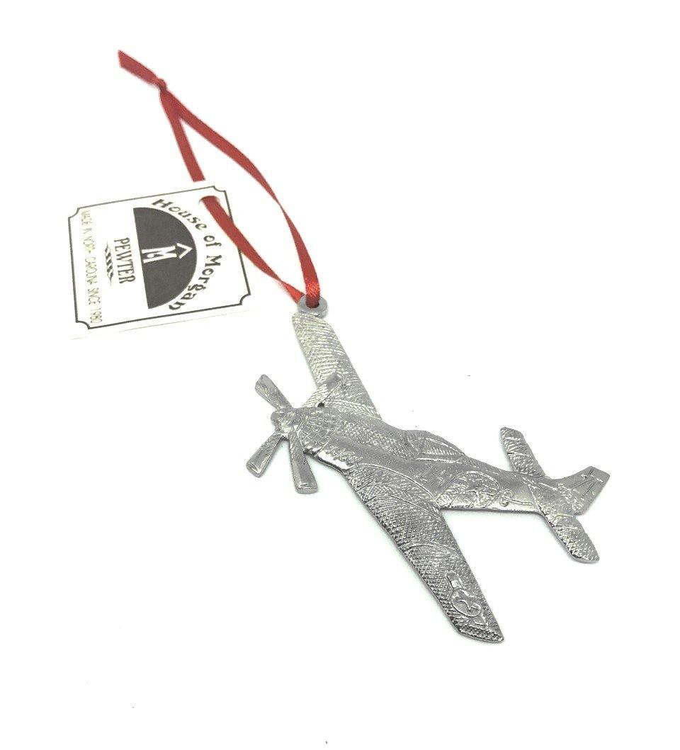 583 Airplane Pilot Jet Air Force Christmas Ornament Pewter - House of Morgan Pewter
