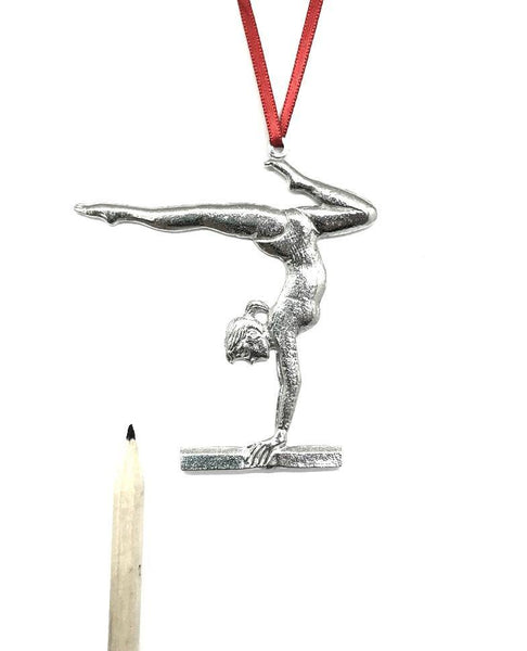 586 Gymnastic Balance Beam Acrobatics Keepsake Christmas Holiday Ornaments Pewter - House of Morgan Pewter