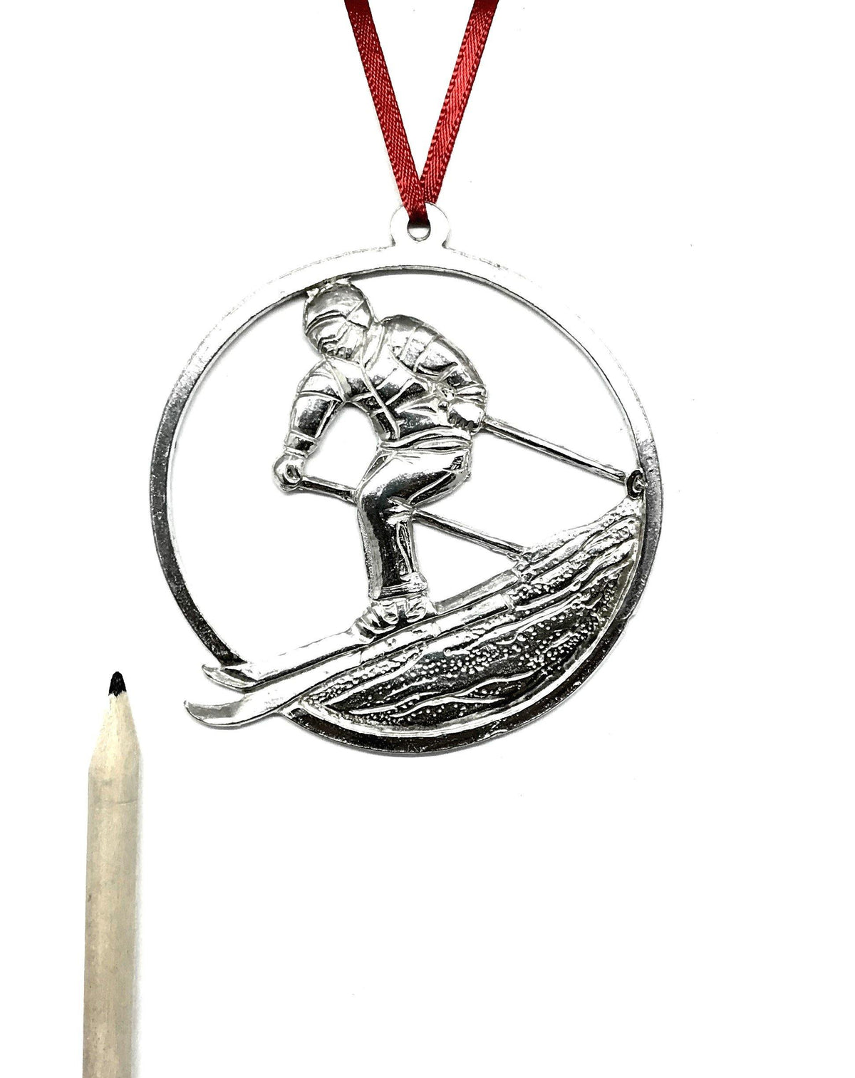 587 Snow Skier Skiing Coach Team Keepsake Christmas Holiday Ornament Pewter - House of Morgan Pewter