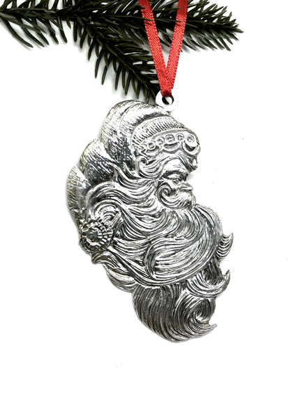 588 Santa Claus Face Profile Beard Christmas Holiday Ornament Pewter - House of Morgan Pewter