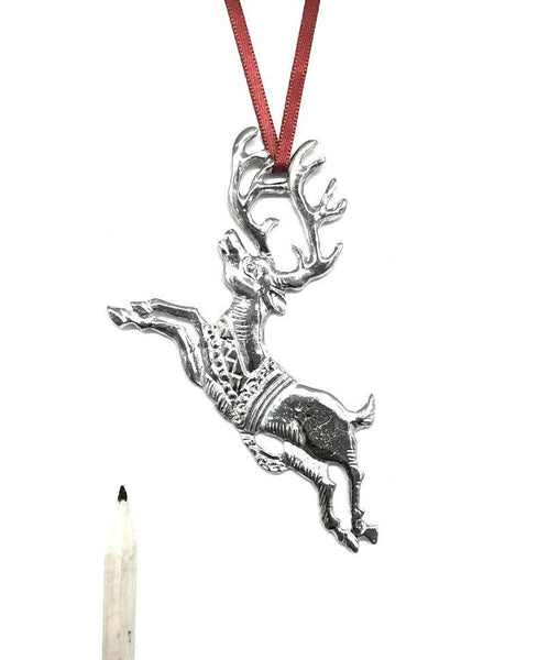 593 Reindeer in Flight Keepsake Christmas Holiday Ornament Pewter - House of Morgan Pewter