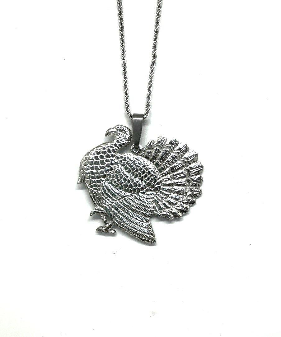 596P Turkey Thanksgiving Fall Jewelry Accessories Pendant Charm Necklace Pewter - House of Morgan Pewter