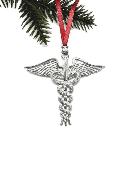 619 Caduceus Medical Symbol Physician MD Christmas Holiday Ornament Pewter - House of Morgan Pewter