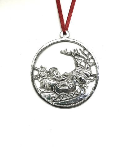 620 Santa Reindeer in Flight Keepsake Christmas Holiday Ornament Pewter - House of Morgan Pewter