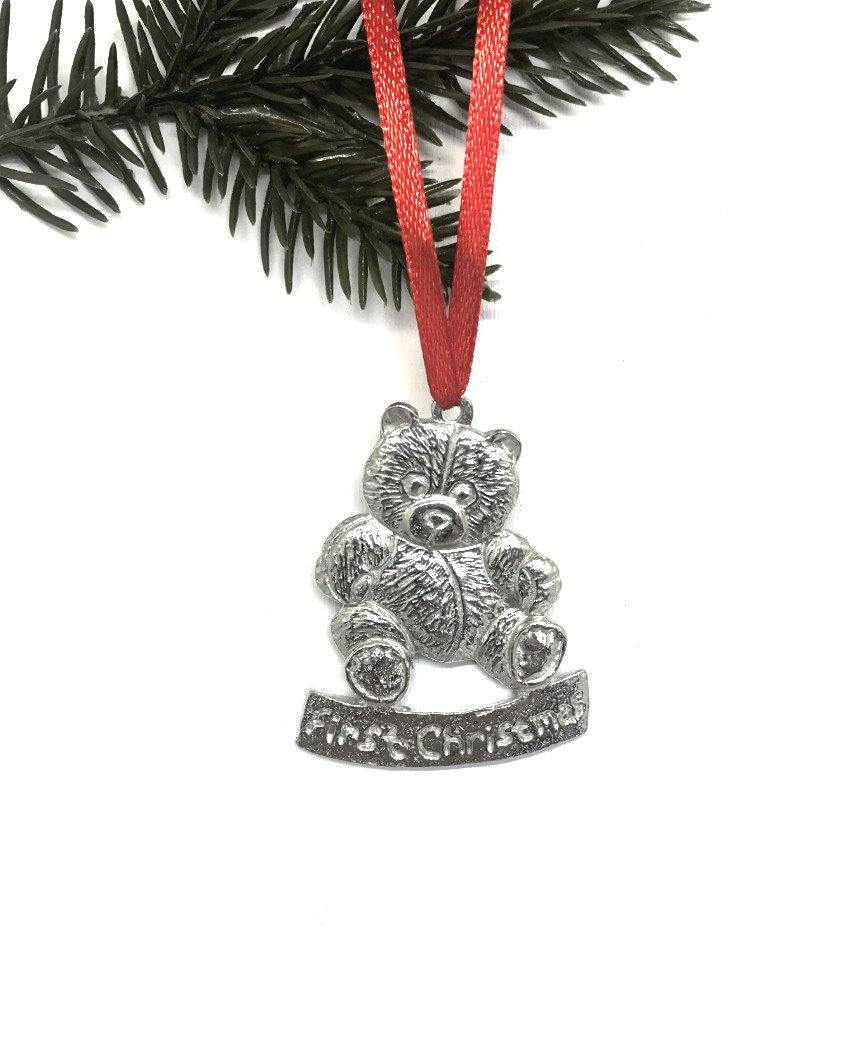 630 Baby's First Christmas New Baby Mom Carriage Ornament Keepsake Pewter - House of Morgan Pewter