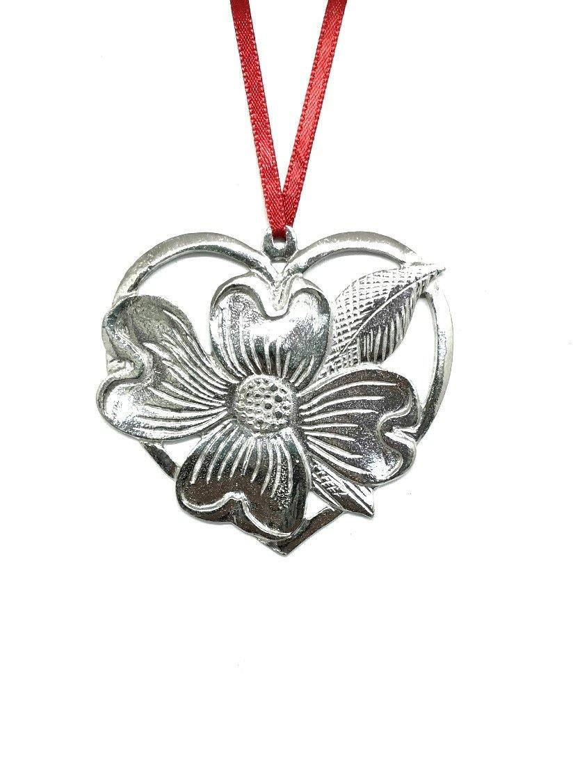 653 Dogwood Heart Holiday Pewter Ornament - House of Morgan Pewter