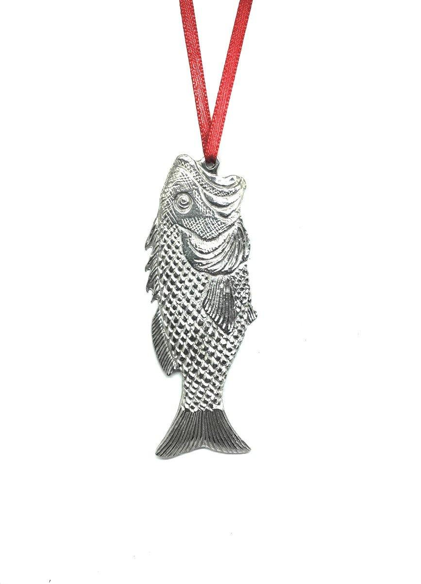 662 Large Mouth Bass Fish Pet Beach Ocean Island Keepsake Holiday Christmas Ornament Pewter - House of Morgan Pewter
