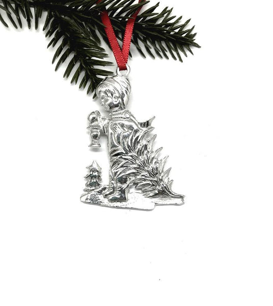 739 Little Boy Christmas Tree Winter Wonderland Christmas Holiday Ornament Pewter - House of Morgan Pewter