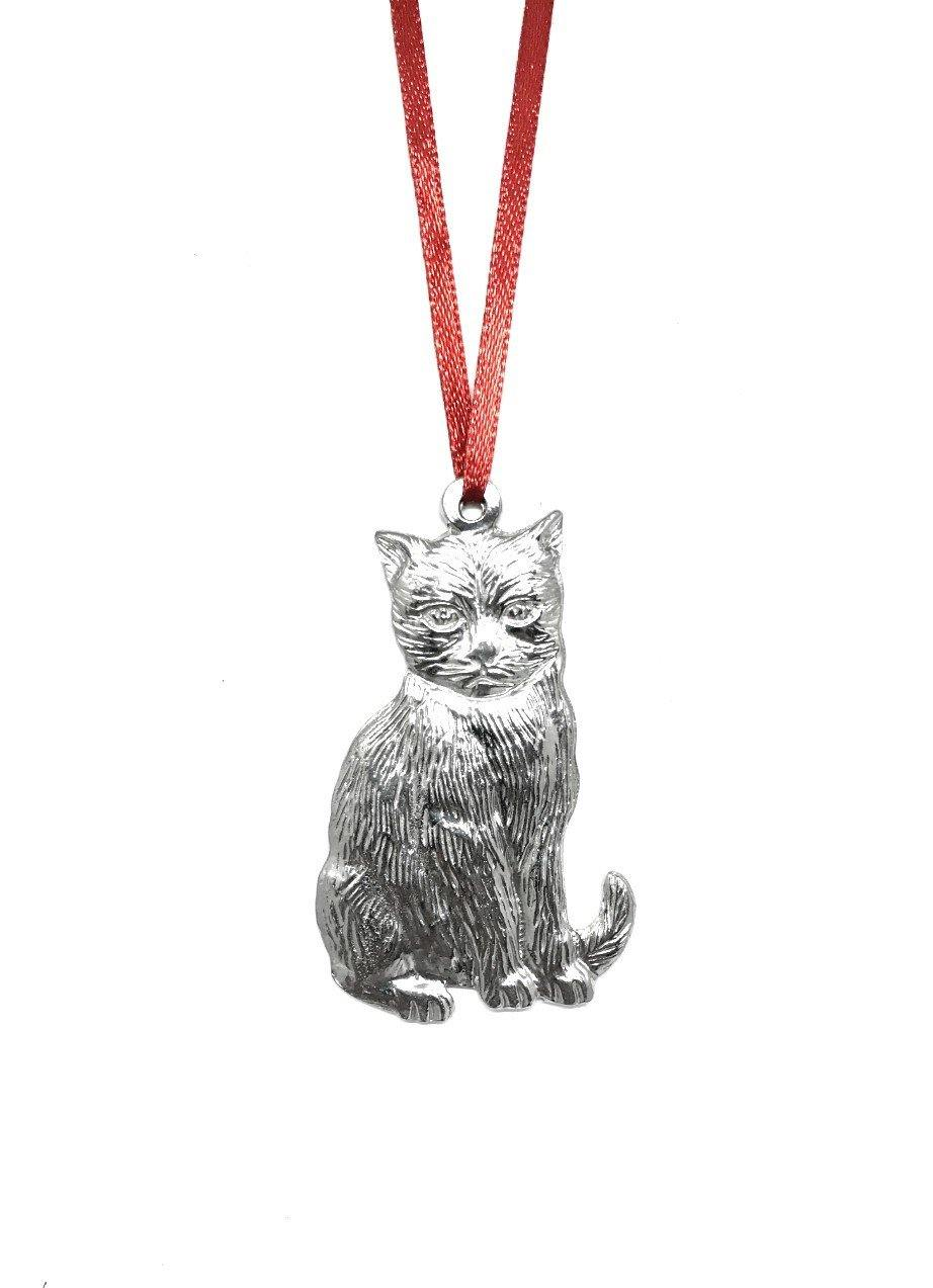 745 Cat Kitten Family Pet Memorial Remembrance Keepsake Holiday Christmas Ornament Pewter - House of Morgan Pewter