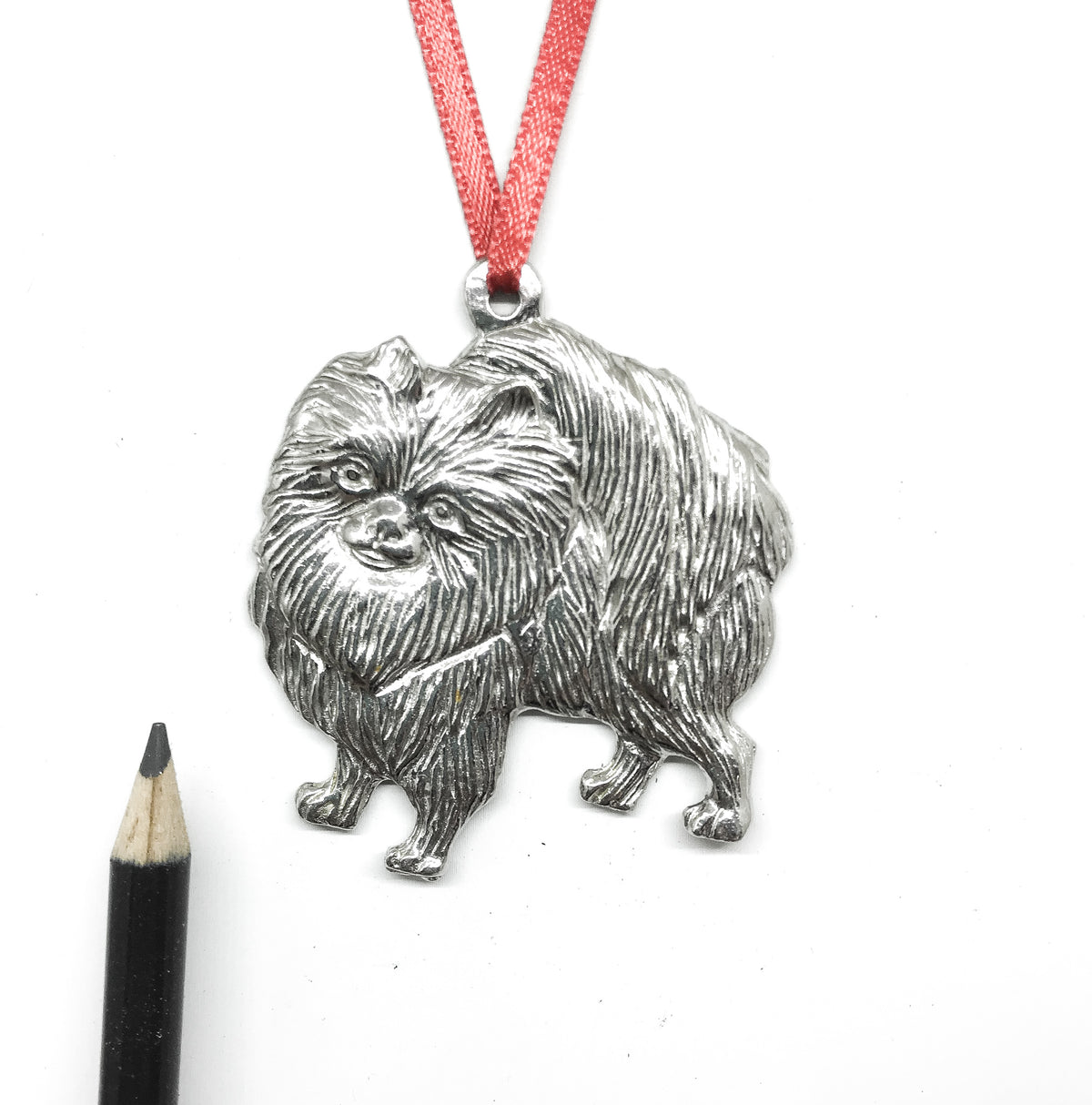 USA Handcrafted Pomeranian Dog Memorial Holiday Keepsake Christmas Ornament Pewter