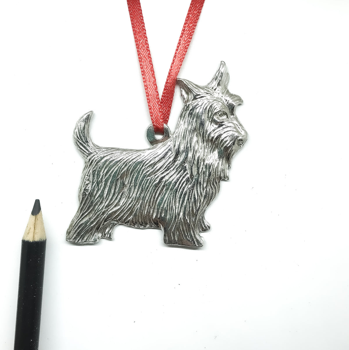 USA Handcrafted Scottie Dog Memorial Holiday Keepsake Christmas Ornament Pewter