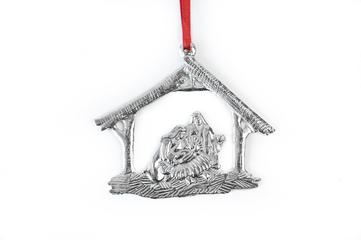 Nativity Religious Baby Jesus Keepsake Holiday Christmas Ornament Pewter