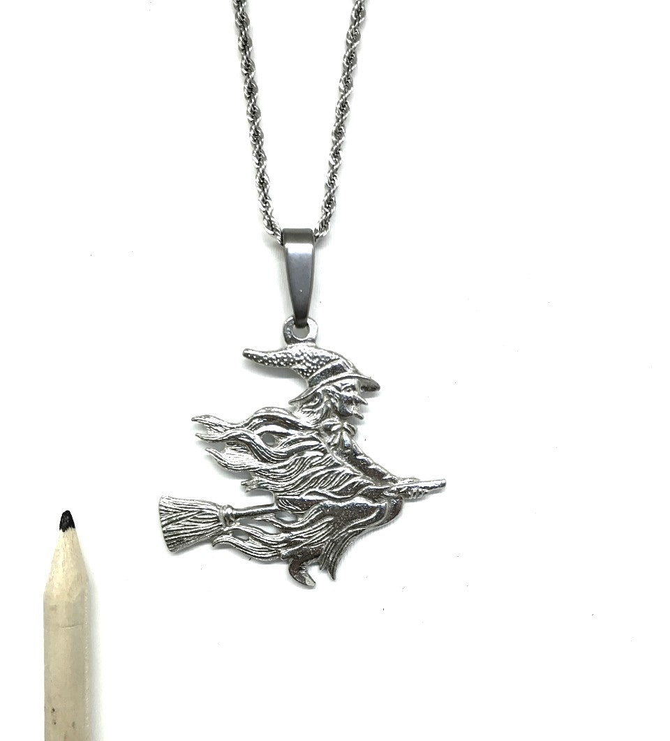 763 Witch on Broom Fall Halloween  Jewelry Accessories Pendant Charm Necklace Pewter - House of Morgan Pewter