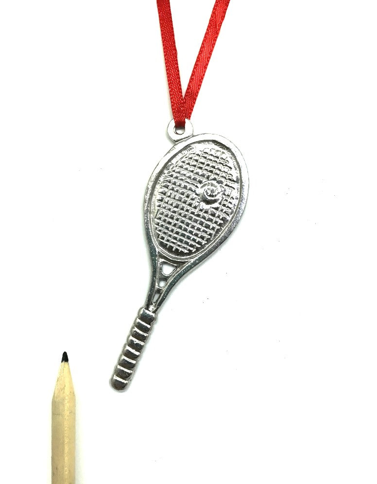 784 Tennis Racket Player Coach Team Athlete Pewter Keepsake Holiday Christmas Ornament - House of Morgan Pewter
