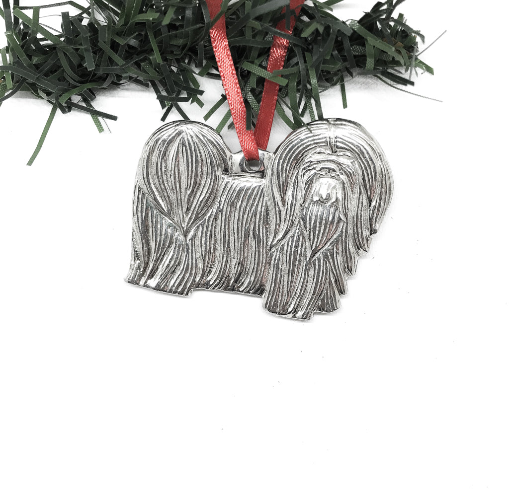 USA Handcrafted Lhasa Apso Dog Memorial Holiday Keepsake Christmas Ornament Pewter