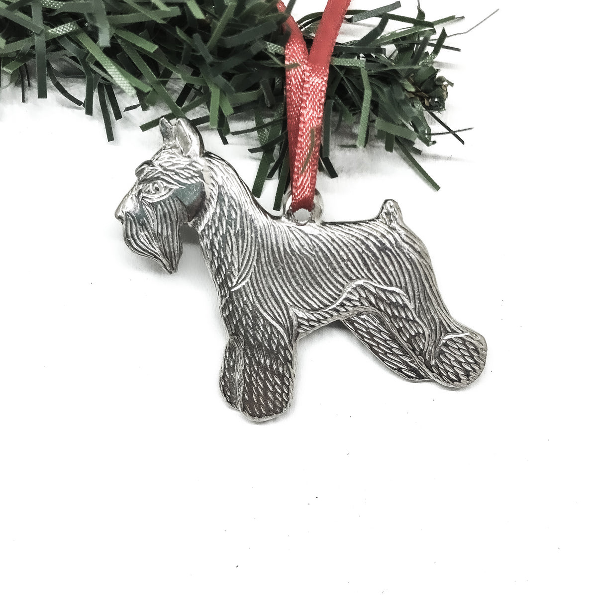 USA Handcrafted Schnauzer Dog Memorial Holiday Keepsake Christmas Ornament Pewter