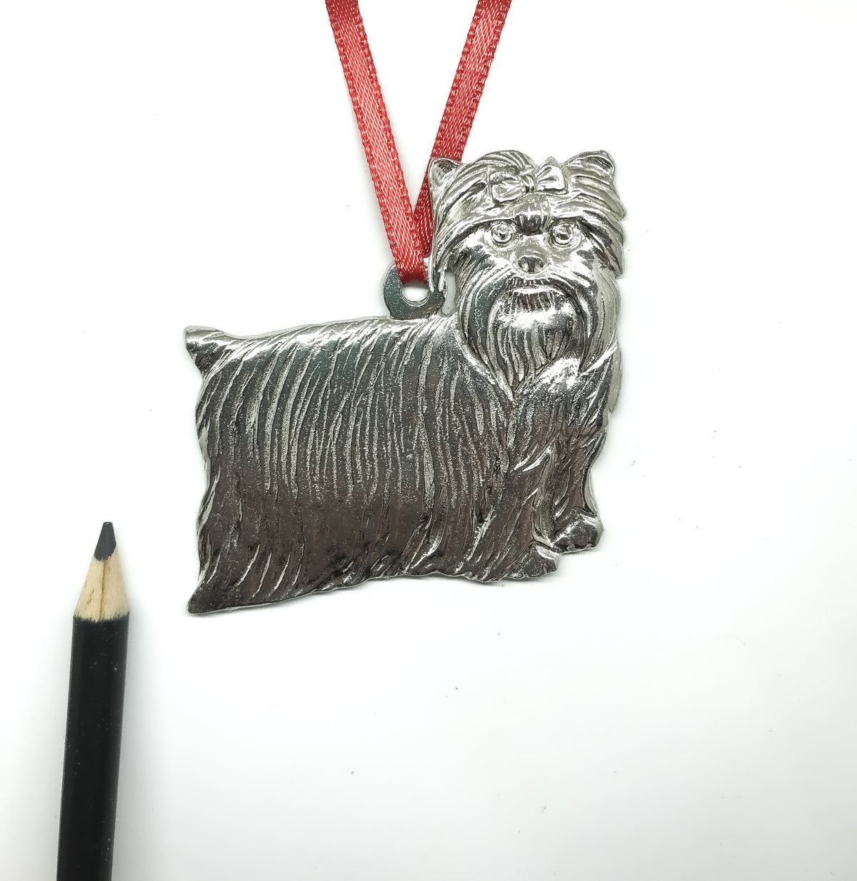 USA Handcrafted Yorkie Dog Memorial Holiday Keepsake Christmas Ornament Pewter