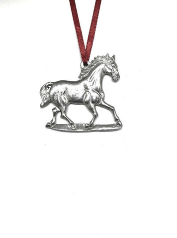 801 Horse Stallion Mustang Equestrian Keepsake Holiday Christmas Ornament Pewter - House of Morgan Pewter