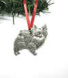 USA Handcrafted Papillon Dog Memorial Holiday Keepsake Christmas Ornament Pewter