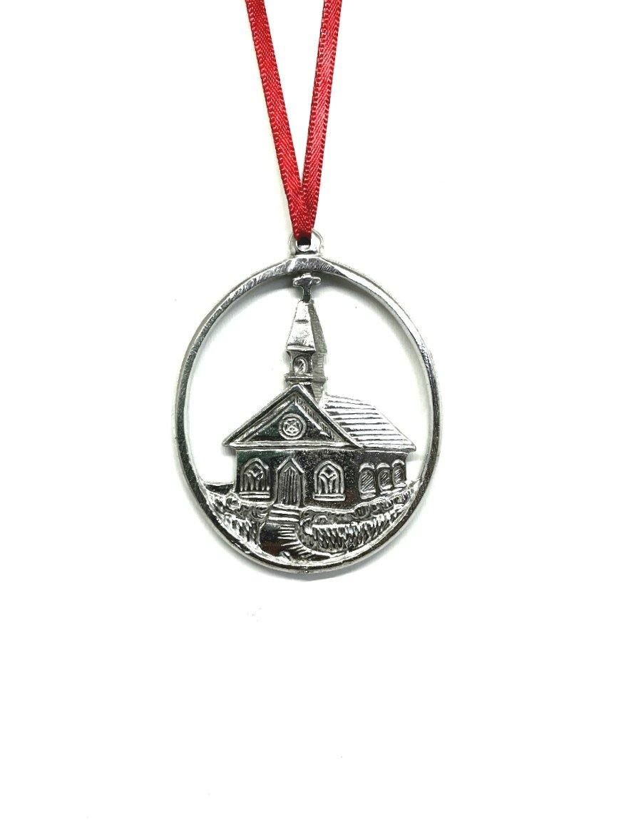 825 Country Church Religious Christmas Ornament Pewter - House of Morgan Pewter