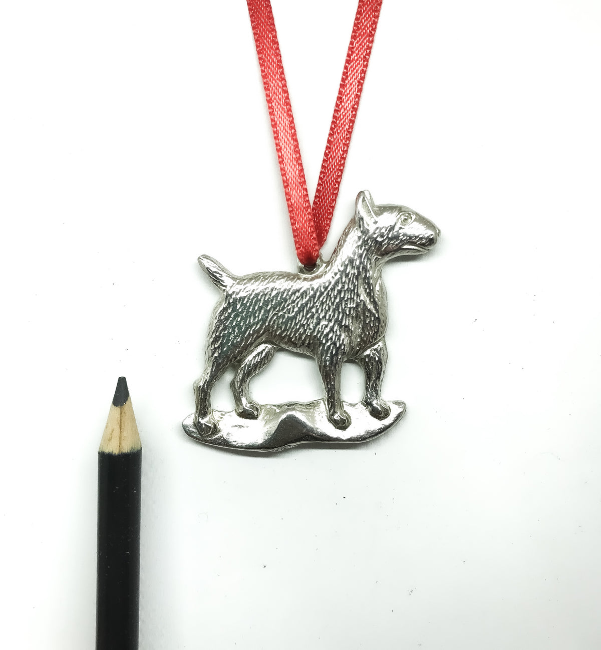 USA Handcrafted Bull Terrior Dog Memorial Holiday Keepsake Christmas Ornament Pewter
