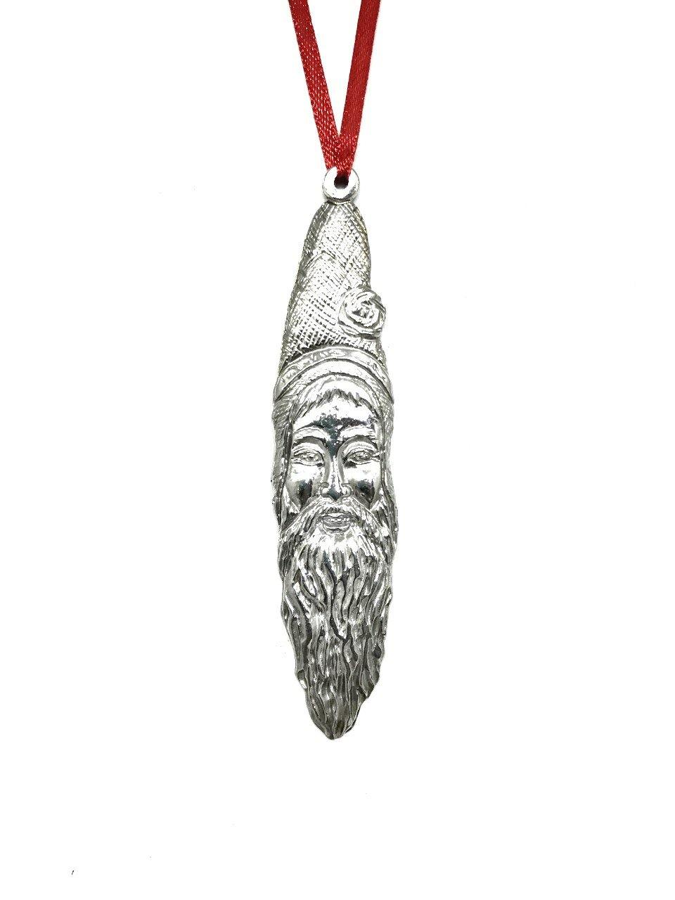 874 Santa Claus Sickle Beard Christmas Holiday Ornament Pewter - House of Morgan Pewter