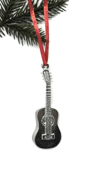 896 Guitar Musical String Instrument Keepsake Holiday Ornament Pewter - House of Morgan Pewter