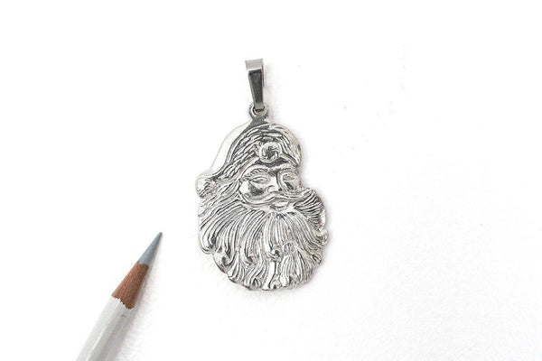 921P Santa Claus Face Christmas Holiday Pendant Pewter - House of Morgan Pewter
