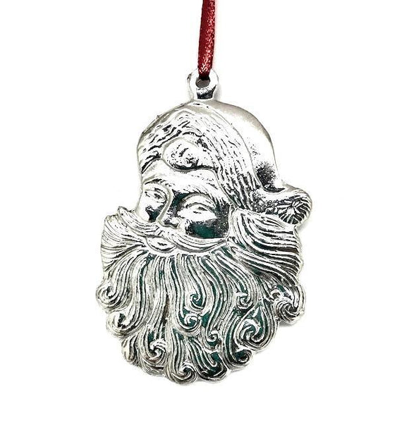 921 Santa Claus Face Beard Christmas Holiday Ornament Pewter - House of Morgan Pewter