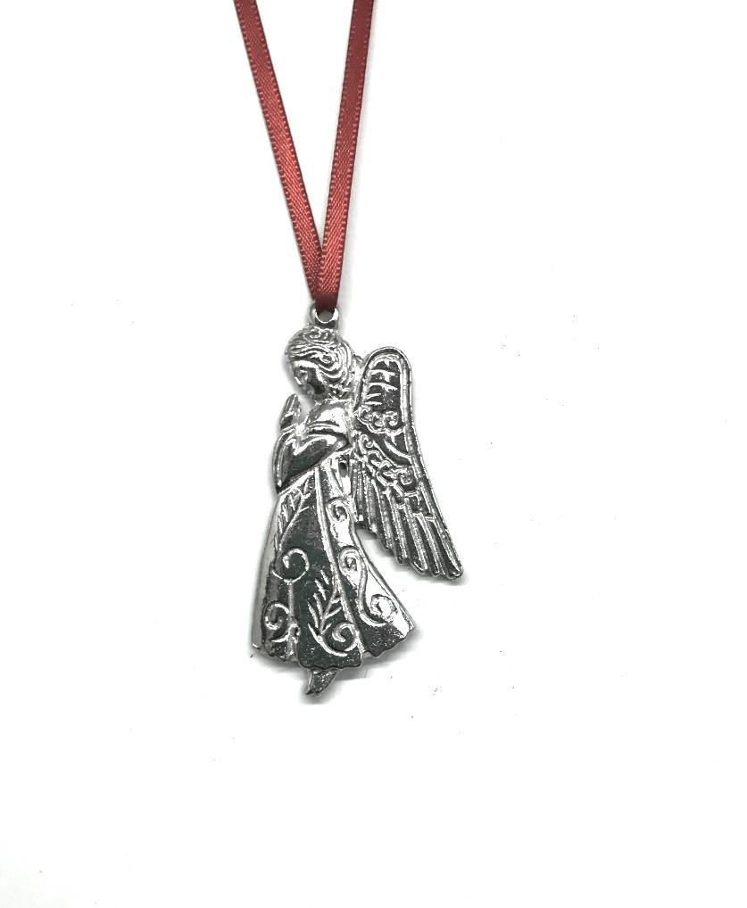 959 Praying Angel Wings Memorial Remembrance Keepsake Christmas Ornament Pewter - House of Morgan Pewter