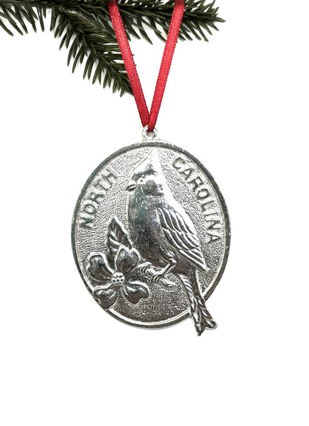 962 North Carolina NC Cardinal Dogwood Holiday Pewter Ornament - House of Morgan Pewter