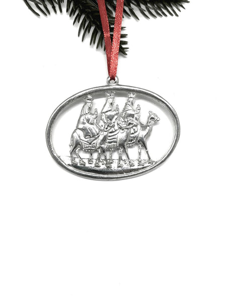 966 Wisemen Wise Men Nativity Religious Oval Christmas Ornament Pewter - House of Morgan Pewter