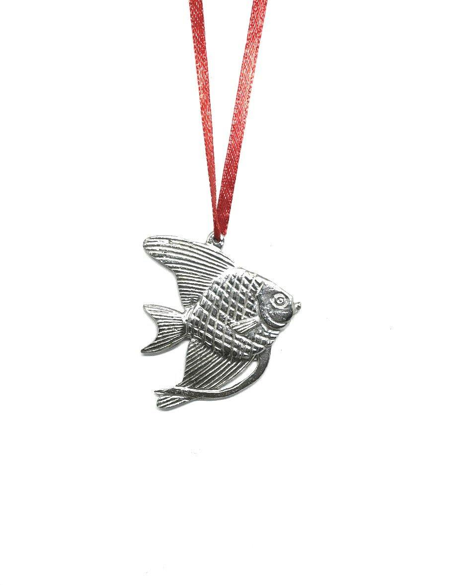 975 Angel Fish Pet Beach Ocean Island Keepsake Holiday Christmas Ornament Pewter - House of Morgan Pewter