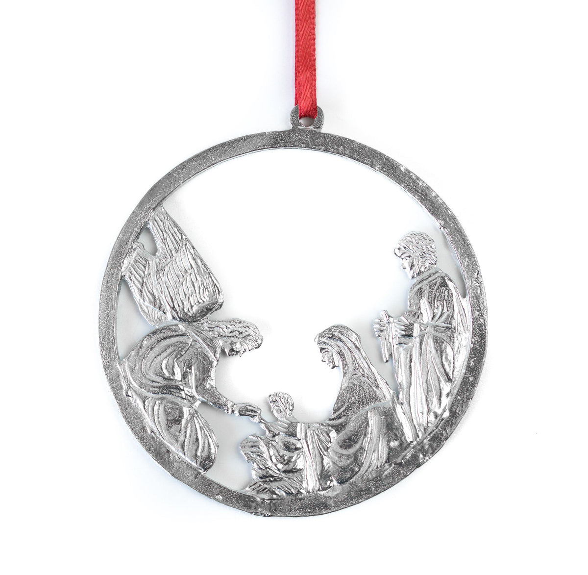 Circle Nativity Religious Holiday Keepsake Christmas Ornament Pewter
