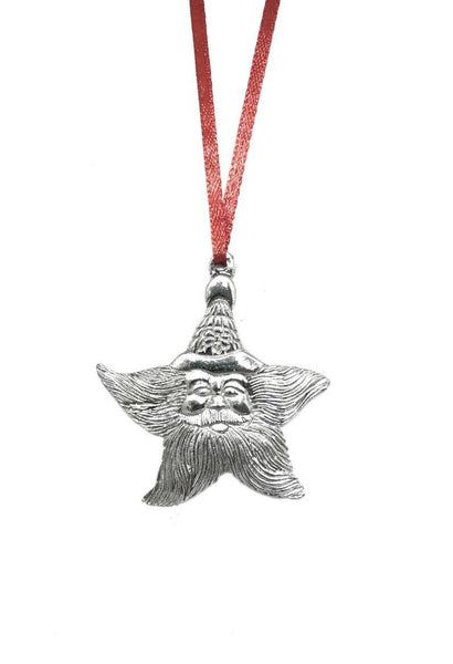 995 Santa Claus Star Beard Christmas Holiday Ornament Keepsake Pewter - House of Morgan Pewter