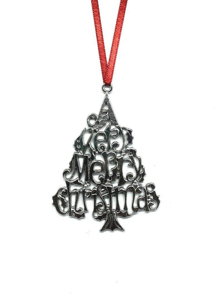 A Very Merry Christmas Ornament Keepsake Gift Tag Pewter - House of Morgan Pewter