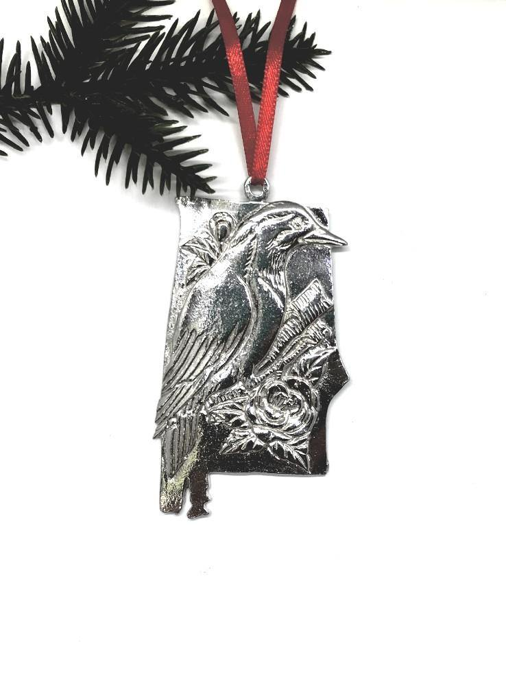 Alabama AL State Symbols Outline Holiday Christmas Ornament Pewter - House of Morgan Pewter