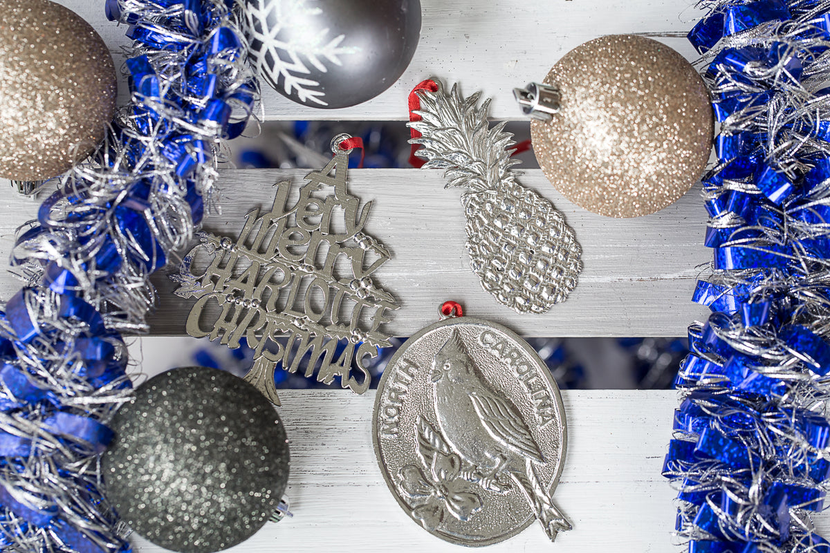USA Handcrafted Charlotte CLT Holiday Keepsake Christmas Ornament Pewter Gift Set