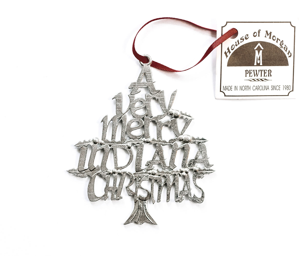 USA Handcrafted Indiana IN Indianapolis Hoosier Christmas Ornament Holiday Gift Pewter