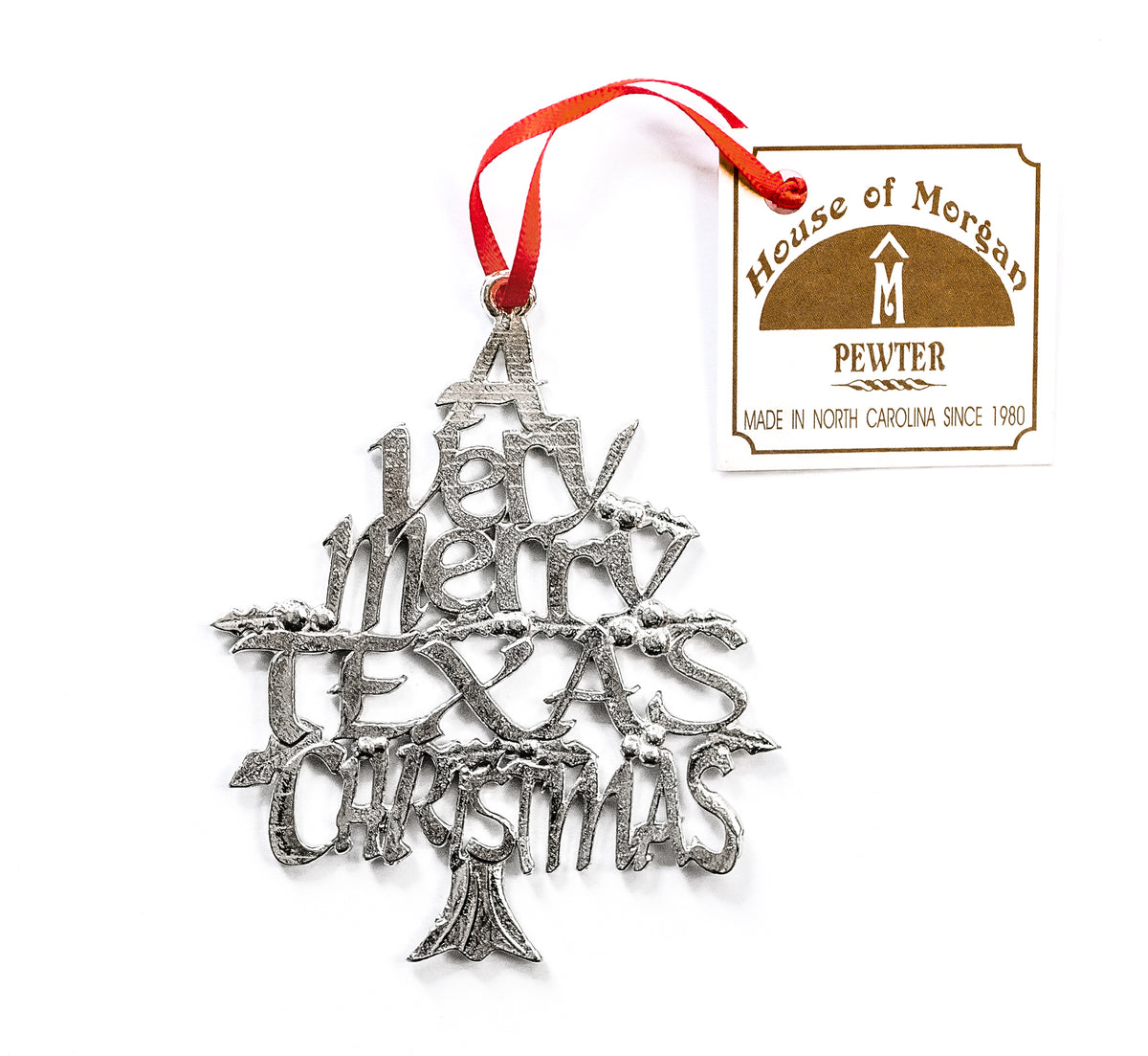 USA Handcrafted Texas TX Christmas Ornament Homestate Holiday Keepsake Pewter