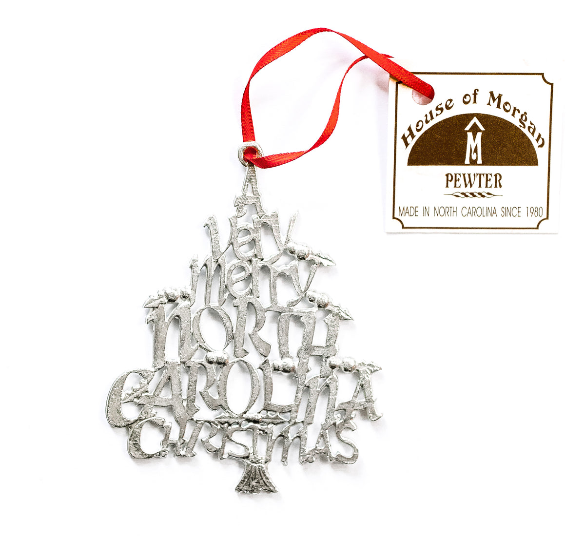 USA Handcrafted North Carolina NC Holiday Keepsake Christmas Ornament Pewter